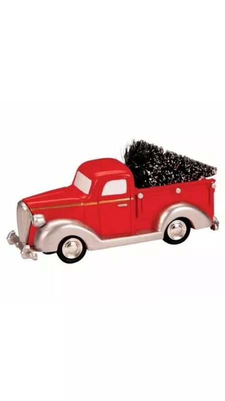 Lemax Holiday Village Little Red Truck With Christmas Tree Town Accessory