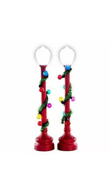 Lemax RED GLOBE STREET LAMP Holiday Village/Train /Carnival -2 pc Set Lighted