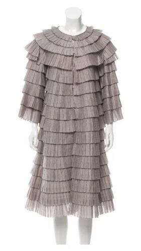 Burberry Accordian Pleat Collarless Dress M