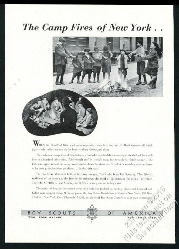 1939 Boy Scouts of America New York City street fire vs campfire photo print ad