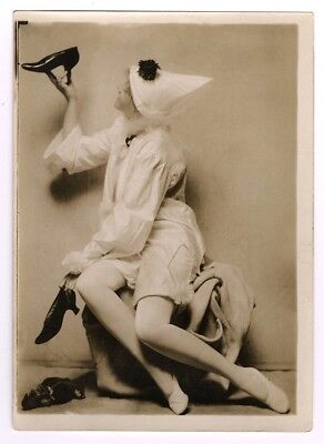 1920s Pierrot Style Flapper Girl Vintage Charles Sheldon Fox Shoes Photograph NR
