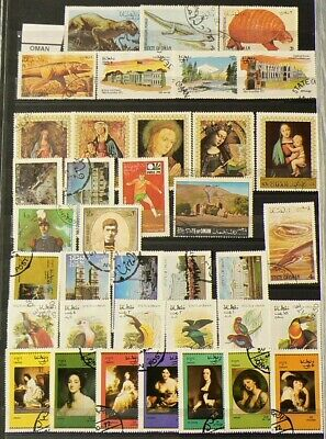 Oman Lot of 54 Cancelled Stamps Hinged #10736