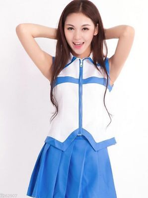 Fairy Tail Lucy Costume Dress Blue White School Girl Uniform For Cosplay Size: S