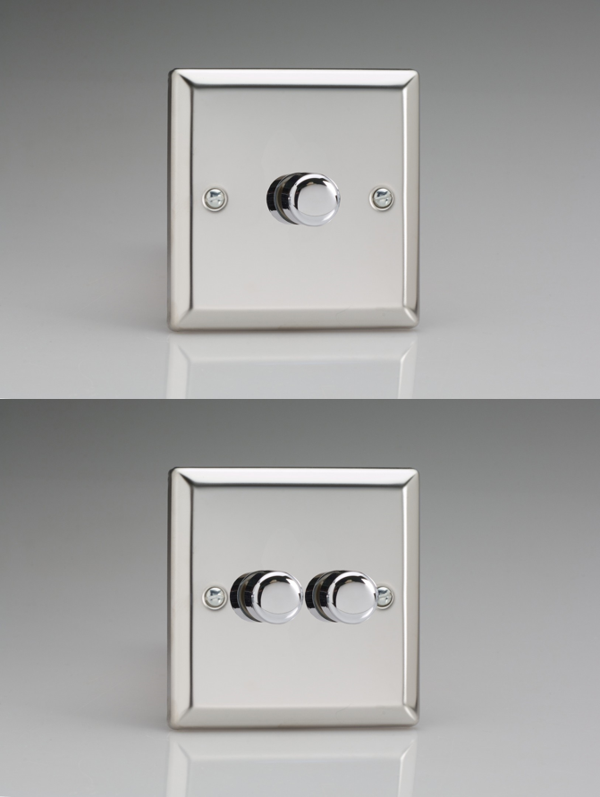 Classic Satin Chrome V-Com Push-on//Push-off LED Dimmer Gang /& Wattage Option