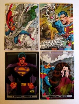 1992 SUPERMAN SPECTRA FOIL Chase set (4) - Doomsday The Death of Superman