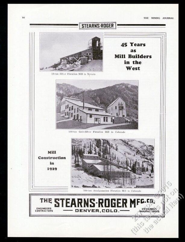 1930 Stearns-Roger mine mill construction Colorado Nevada photo vintage print ad
