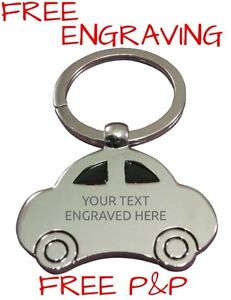Personalised Car Shaped Metal Keyring | Free Engraving Passed Driving Test Gift