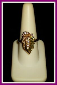 ♥♥ 14K GOLD CLAD WOMENS PERIDOT & DIAMOND RING SIZE 8 PERIDOT RING 14KT GOLD PLD
