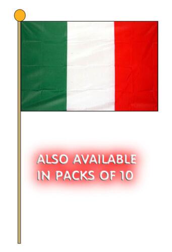 "ITALY HAND WAVING FLAG Large 18"" x 12"" with 24"" pole ITALIAN ROME MILAN BARI"