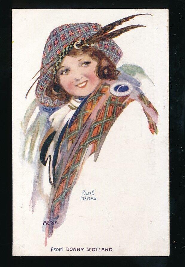 Galeria Scotland artist RENE MERAS Dress tartan fashion costume glamour c190/20s?  PPC