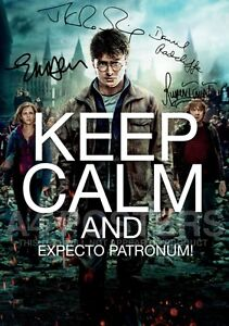 SIGNED PP x4 HARRY POTTER DH PT2 TOM FELTON JK ROWLING KEEP CALM A4 POSTER PHOTO