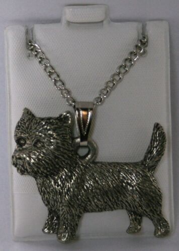 Cairn Terrier Dog Harris Fine Pewter Pendant w Chain Necklace USA Made