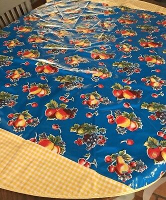 "60"" Round Oilcloth Tablecloth Blue Pears Apples Gingham Border Outdoor Camper RV"