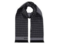VERSACE SCARF, 100% Wool, 100% Authenic, Brand New with tags, Black/Grey reversible