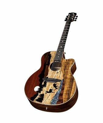 Luna Vista Deer Tropical Wood Acoustic-Electric Guitar Ebony Fingerboard!