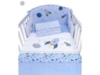 Space cotbed bumper set bedding