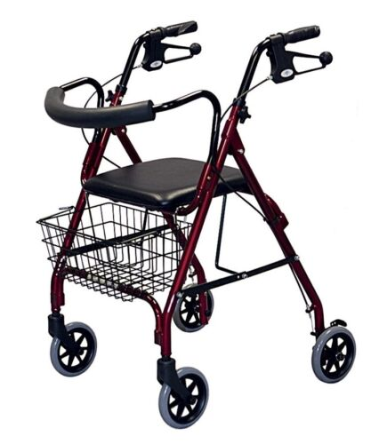 Medline Deluxe Rollator Rolling 4 Wheeled Walker - Burgundy.