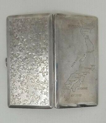 Vintage Sterling Silver 950 Cigarette Case Islands of Japan 6.2 Ounces