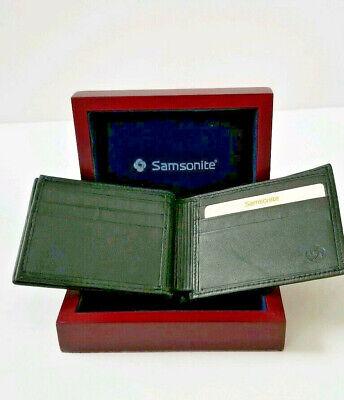 Samsonite Black Leather Credit Card Wallet New in Wood Box