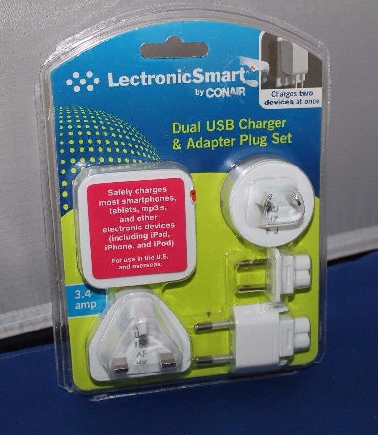 LECTRONIC SMART Dual USB Charger & Adapter Set 3.4 amp LS6AD