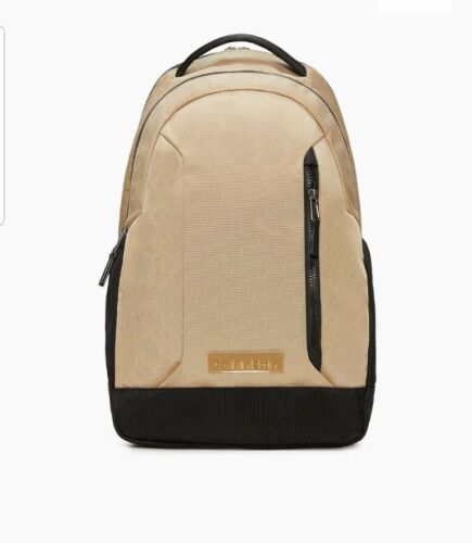 NWT Calvin klein Nylon Double Zip Bagpack In Black & Cream M