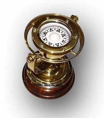 Antique Brass Reproduction Nautical Ship's Gimbal Compass Marine Decor