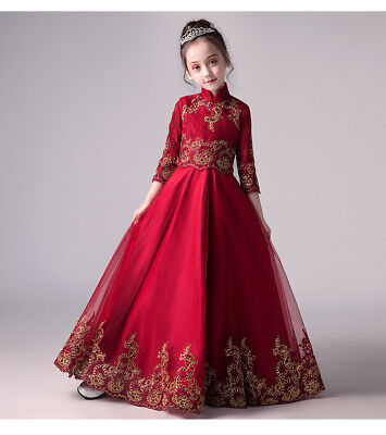 Children Girls Embroided Chinese style Red Cheongsam Party Wedding Dress - Red Girls Party Dress