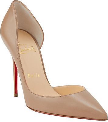 CHRISTIAN LOUBOUTIN Iriza 100 Nude Leather Half-d'Orsay Pump Heel Shoe 37 NIB
