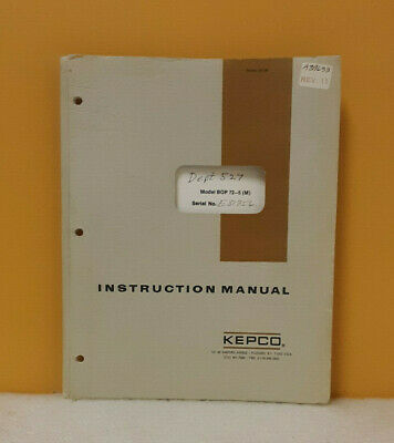 Kepco 146-0045 Bop 72-5 M Bipolar Operational Power Supply Instruction Manual