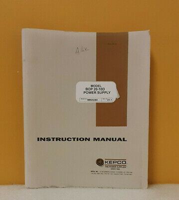 Kepco 243-0668 Bop 20-10d Bipolar Operational Power Supply Instruction Manual