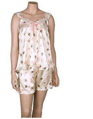 Camisole Pajamas Set Satin Polyester 100% Heart Pattern Free Size S M Korea