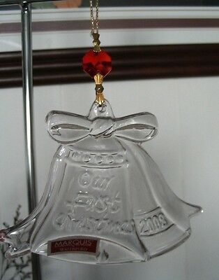 Waterford Marquis Crystal 2008 Our First Chritmas Wedding Bells Ornament NIB
