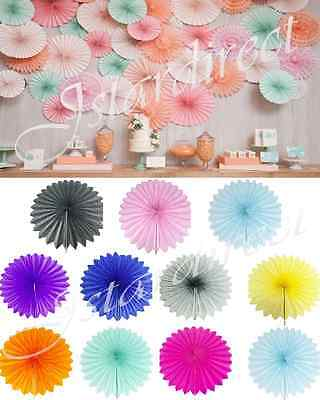 "1 Set or 5 Set 10"" 14"" Tissue Paper Fan Pin Wheel Hanging Flower Wedding Party"