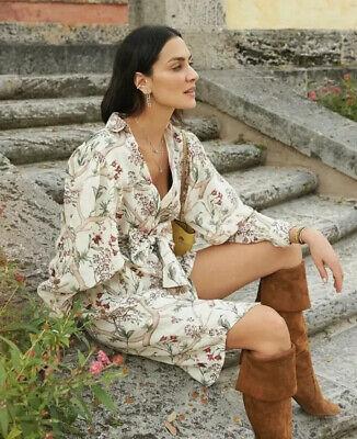 H&M X Johanna Ortiz Linen Orchid Shirt Dress- Size Medium 12-14