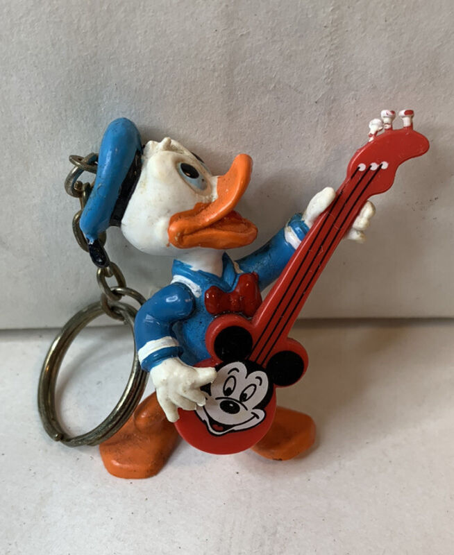 Vintage Walt Disney Applause Donald Duck with Mickey Mouse Guitar Keychain
