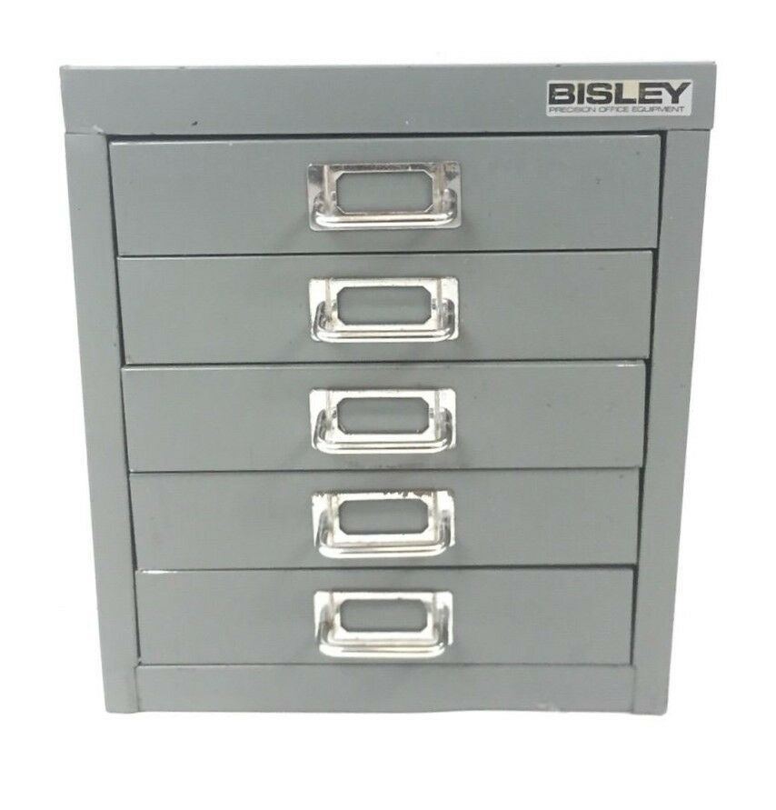Bisley Office Desktop Storage Cabinet 5 Drawer Steel Silver Rrp 59 99