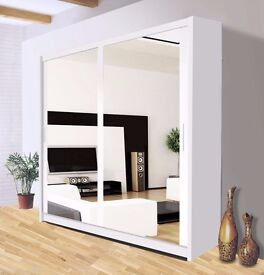 Brand New Full Mirrored Sliding Door Wardrobe with Shelves, Hanging Rail in Oak, Black, White