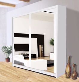 BRAND NEW BERLIN 2 DOOR SLIDING WARDROBE WITH FULL MIRROR, SHELVES AND HANGING RAILS IN NEW COLORS