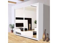 )))SAME-DAY DELIVERY((( -BERLIN Wardrobe With Sliding Doors Fully Mirrored White / Black