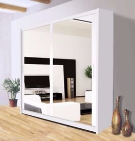 ❤🔥❤🔥❤All Sizes & Color in Stock❤🔥❤🔥❤German Full Mirror 2 Door Sliding Wardrobe w Shelves,Hanging