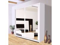 """LIMITED EDITION== """"30% OFF"""" BERLIN FULL MIRROR SLIDING DOOR WARDROBE IN WHITE AND BLACK COLOUR"""