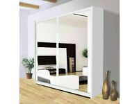 🍁BEDROOM FURNIUTRE🍁-BERLIN 2&3 SLIDING DOORS FULL MIRROR WARDROBE IN 5 SIZES & IN MULTI COLORS