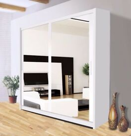 PREMIUM QUALITY GUARANTEED= WOW Brand New Berlin Full Mirror 2 Door Sliding Wardrobe in Black&White