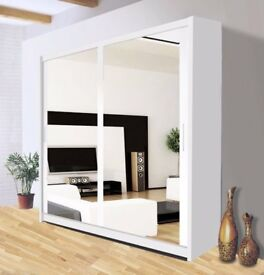 BRAND NEW Special Offer Berlin Full Mirror Sliding Wardrobe For Sale 120 150 180 203 cm 2 Door