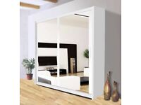 flat packed-2-3 Door Sliding Full Mirror Wardrobe in different Color-Multiple Sizes