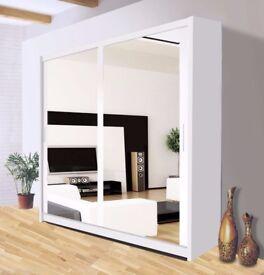 SUPERB QUALITY= Brand New Berlin Full Mirror 2 Door Sliding Wardrobe in Black&White