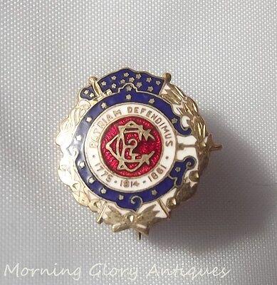 Vintage Patriam Defendimus 1775 1814 1861 Whitehead & Hoag Pin 10K Gold