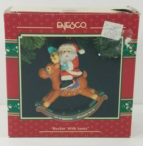 Vintage Enesco Treasury Rockin With Santa 1993 holiday Christmas tree ornament