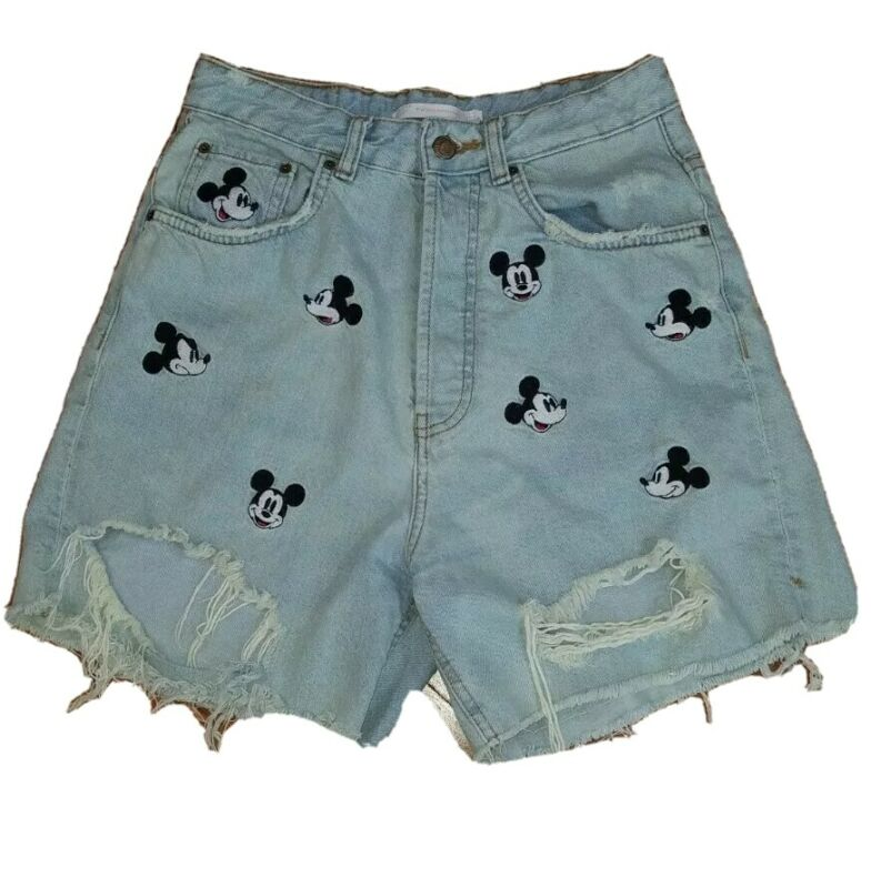 Zara Size 4 Disney Mickey Embroidered Distressed Jean Shorts High Rise RARE