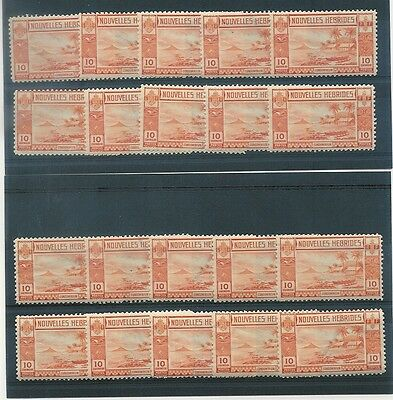 NEW HEBRIDES 1938 GOLD CURRENCY FRENCH 10c SHOWS WATERMARK UM 20 stamps SGF54